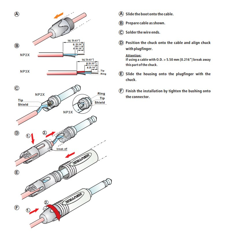Neutrik NP3X stereo konektor
