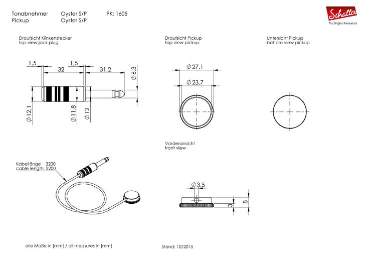 Schaller Oyster S/P piezo magnet za gitaru 16050103