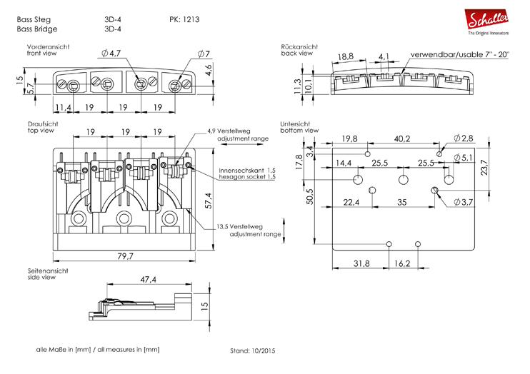 Schaller 3D-4 NI kobilica za četvorožičani bas