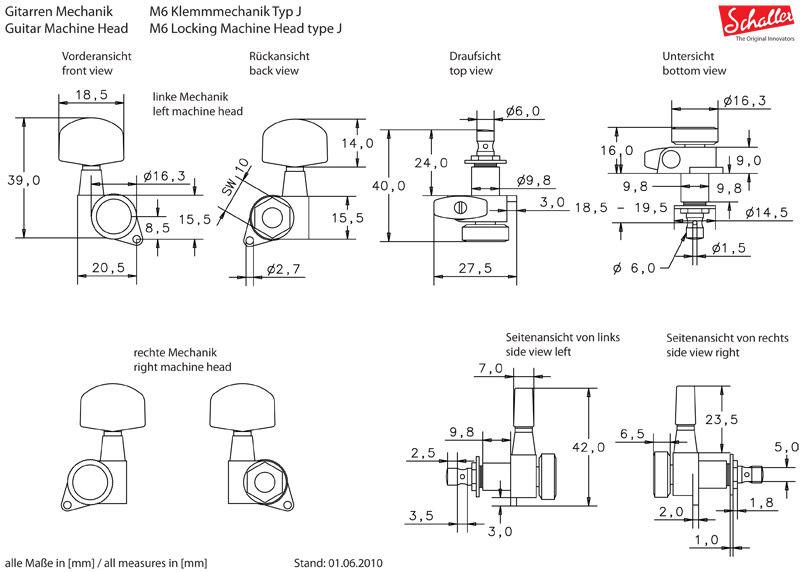 Schaller M6NI Locking 10060123 set čivija 3+3