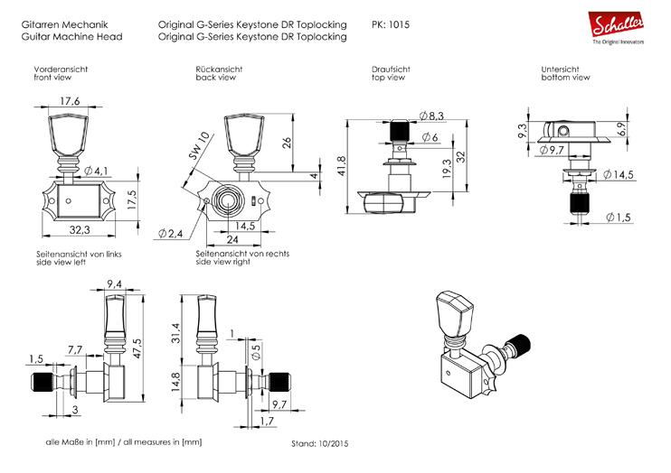 Schaller Original G-Series 3+3 locking čivije za električnu gitaru 10150123