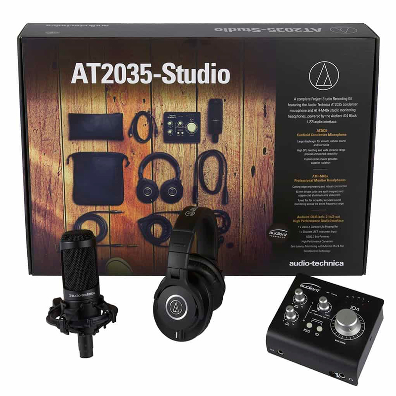 Audio-Technica AT2035-Studio (with ATH-M40x Powered by Audient iD4)
