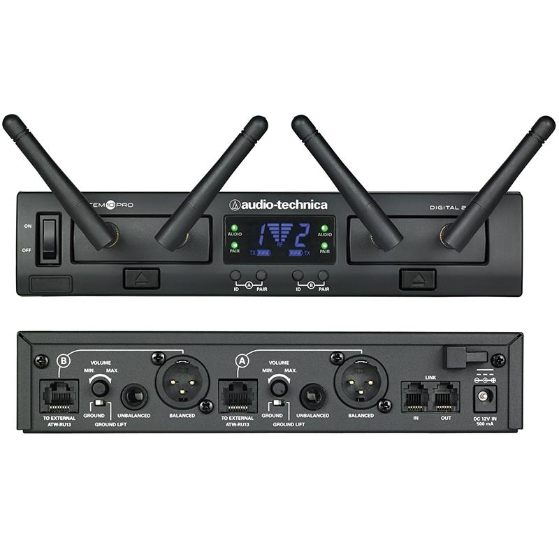 Audio-Technica ATW-1312 2.4GHz Digital Dual Channel Bodypack/HandHeld Wireless System